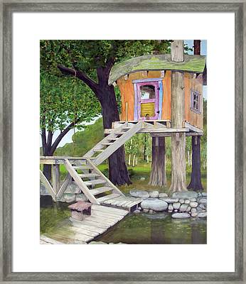 Tree House Pond Framed Print by Will Lewis