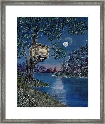 Treehouse On River Framed Print
