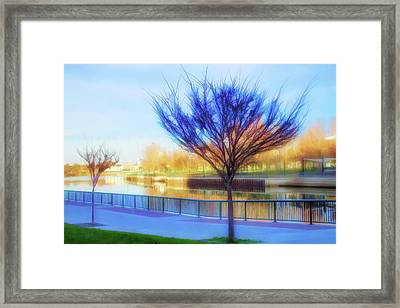 Tree In Blue Framed Print