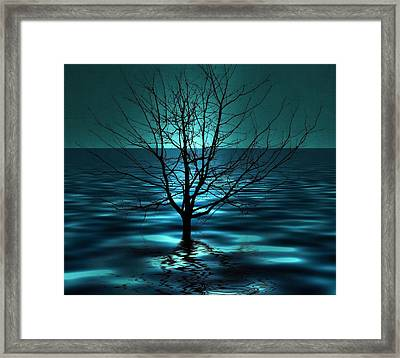 Tree In Ocean Framed Print by Marianna Mills
