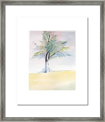 Framed Print featuring the painting Tree In Pastel Colors by Sibby S