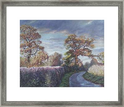 Framed Print featuring the painting Tree Lined Countryside Road by Martin Davey