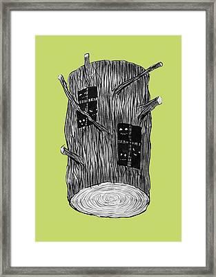 Tree Log With Mysterious Forest Creatures Framed Print
