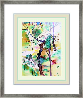 Framed Print featuring the painting Tree Lovers by Mindy Newman