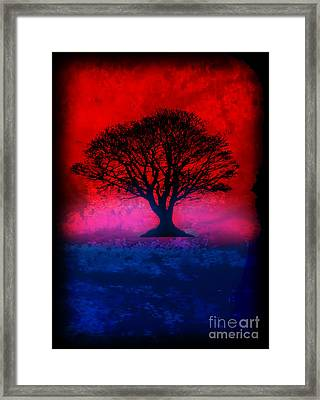 Tree Of Life - Red Sky Framed Print by Robert R Splashy Art