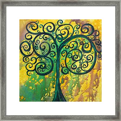 Tree Of Life - Yellow Green Framed Print