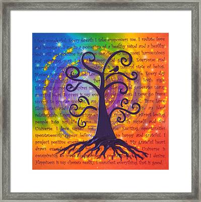 Tree Of Life And Positive Affirmations Framed Print by Agata Lindquist