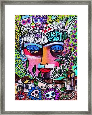 Tree Of Life Face Framed Print by Sandra Silberzweig