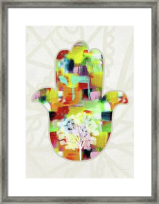 Tree Of Life Hamsa- Art By Linda Woods Framed Print by Linda Woods