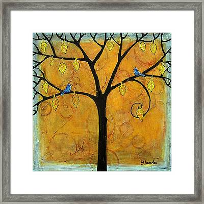 Tree Of Life In Yellow Framed Print by Blenda Studio