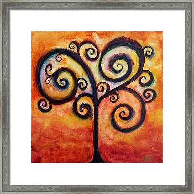 Tree Of Life Orange Framed Print by Christy Freeman Stark