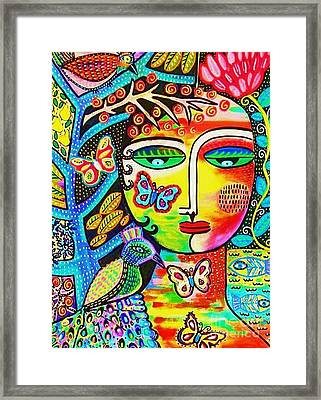 Tree Of Life Paradise Goddess Framed Print by Sandra Silberzweig
