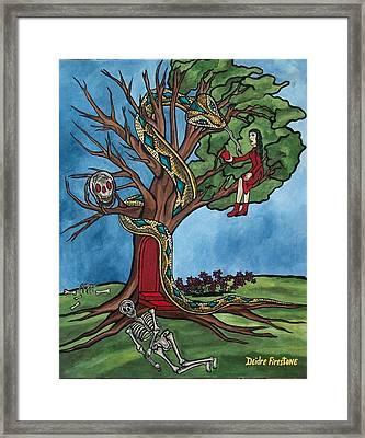 Tree Of Life Temptation And Death Framed Print by Deidre Firestone