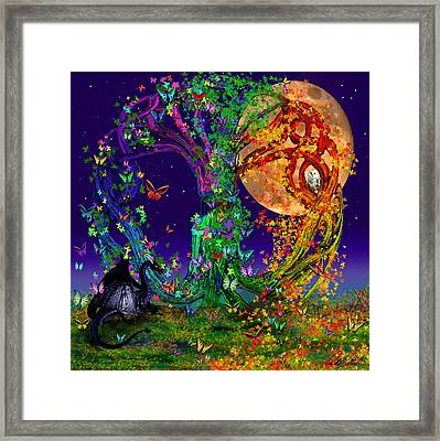Tree Of Life With Owl And Dragon Framed Print