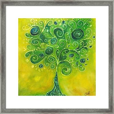 Tree Of Life Yellow Swirl Framed Print by Christy  Freeman