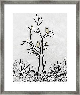 Tree Of Owls Framed Print by Ernie Echols