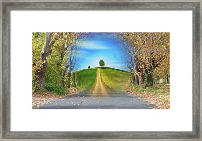 Tree On The Hill Montage Framed Print