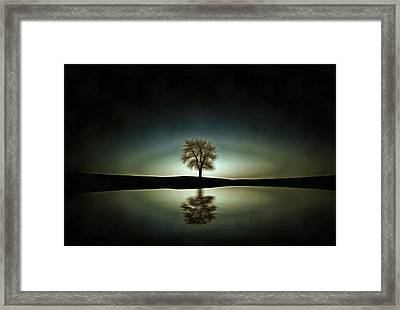 Tree On The Lake Art - Minimalist Landscape Painting Framed Print by Wall Art Prints