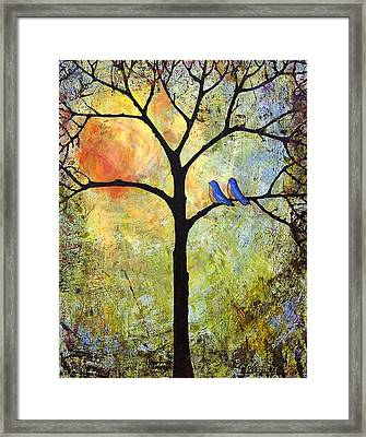 Tree Painting Art - Sunshine Framed Print by Blenda Studio