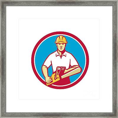 Tree Surgeon Holding Chainsaw Circle Retro Framed Print