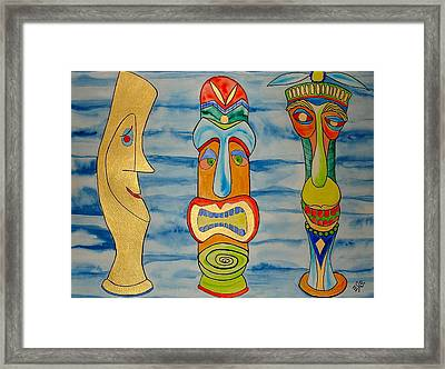 Framed Print featuring the painting Tree Tikis Cuz by Erika Swartzkopf