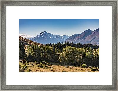 Framed Print featuring the photograph Tree View Of Mt Cook Aoraki by Gary Eason