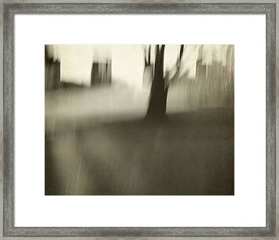 Tree With Buildings Abstract Framed Print by Patricia Strand