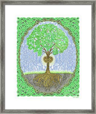 Tree With Heart And Sun Framed Print by Lise Winne