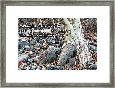 Framed Print featuring the photograph Tree With Quote by Charles Ables