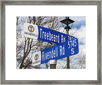 Framed Print featuring the photograph Treebeard And Rivendell Street Signs by Gary Whitton