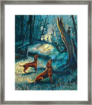 Framed Print featuring the painting Treed At Dawn by Suzanne McKee