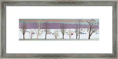 Trees And Bobhouses Framed Print by Marian Federspiel
