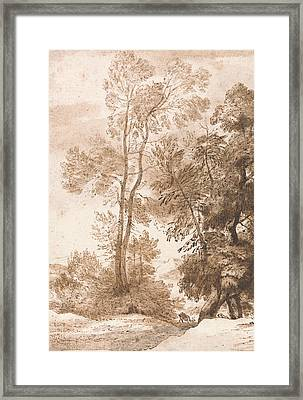 Trees And Deer Framed Print by John Constable