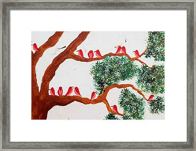 Trees And Red Birds 1 Framed Print