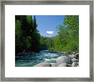 Trees And Rocks Along Clear Mountain Framed Print by Panoramic Images