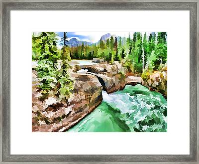 Trees By Riverside Hills And Rocks Framed Print
