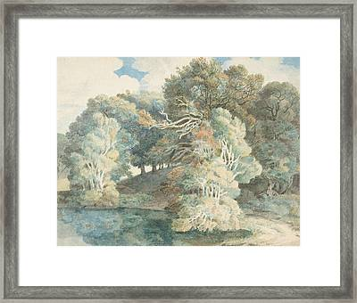 Trees By The Lake, Peamore Park, Near Exeter, Devon Framed Print
