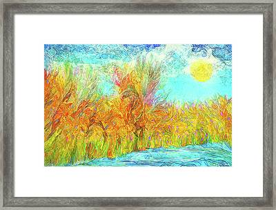 Framed Print featuring the digital art Trees Flow With Sky - Boulder County Colorado by Joel Bruce Wallach