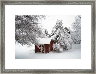 Trees Fresh Snow Fall In The Backyard Framed Print by Thomas Woolworth