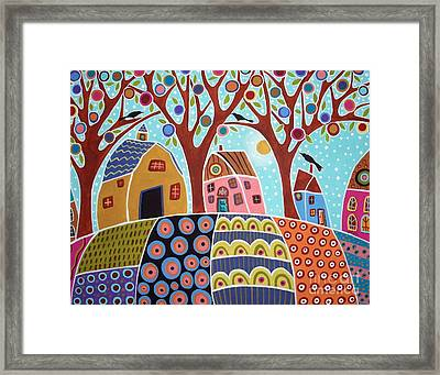 Trees Houses Barn And Birds Framed Print by Karla Gerard