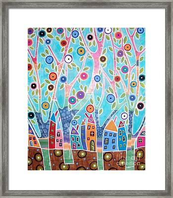 Trees Houses Landscape Framed Print by Karla Gerard