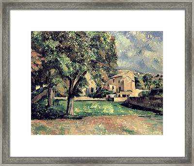 Trees In A Park Framed Print by Paul Cezanne