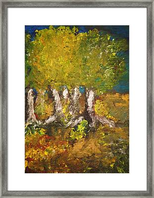 Framed Print featuring the painting Trees In The Evening by Evelina Popilian