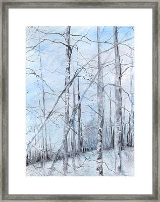 Trees In Winter Snow Framed Print by Robin Miller-Bookhout