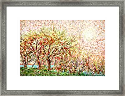 Framed Print featuring the digital art Trees In Winter Under Full Moon At Dusk by Joel Bruce Wallach