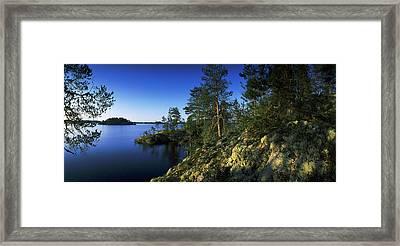 Trees On An Island In A Lake, Lake Framed Print