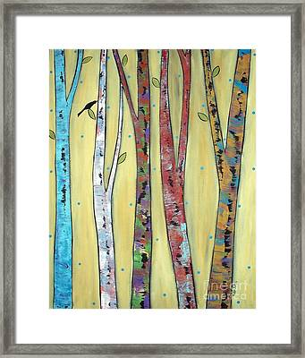Trees On Yellow Framed Print