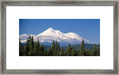 Trees With Snowcapped Mountains Framed Print by Panoramic Images
