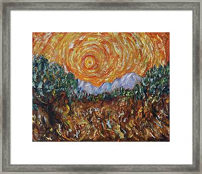 Trees, Yellow Sky And Sun Inspired By Vincent Van Gogh's Paintin Framed Print