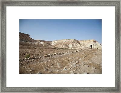 Trekker Alone On The Wild Way Framed Print by Yoel Koskas